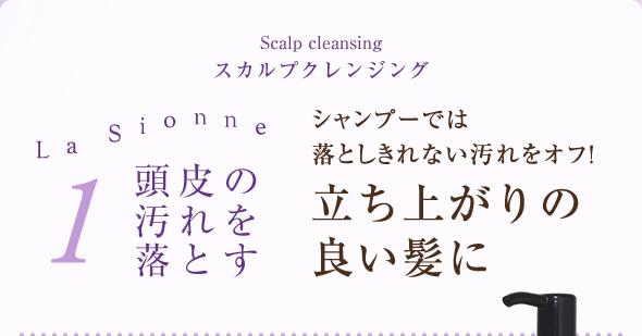 1.頭皮の汚れを落とす スカルプクレンジング シャンプーでは落としきれない汚れをオフ!立ち上がりの良い髪に